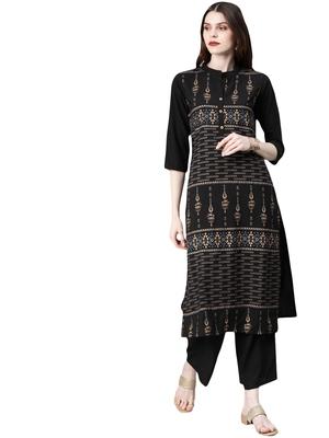 Women's Black Colour Khadi Print Straight Crepe Kurta