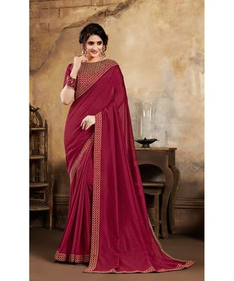 brown Poly Silk Stone Work and Embroidered Border Fancy Designer Saree