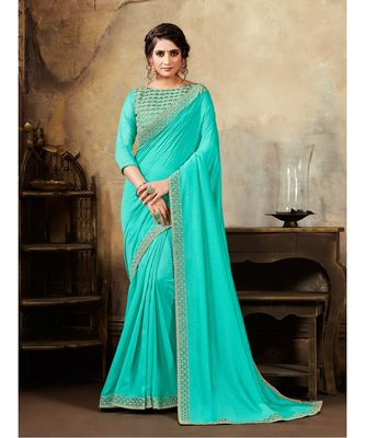 Turqouise Blue Poly Silk Stone Work and Embroidered Border Fancy Designer Saree