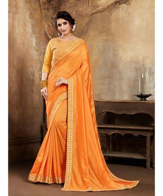 Mustard Poly Silk Stone Work and Embroidered Border Fancy Designer Saree