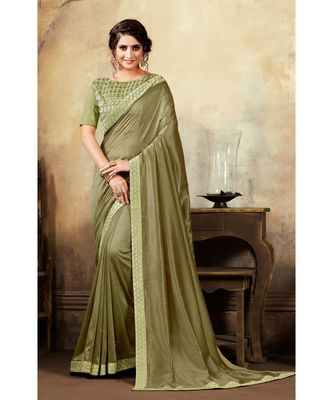 Green Poly Silk Stone Work and Embroidered Border Fancy Designer Saree