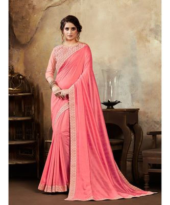 Pink Poly Silk Stone Work and Embroidered Border Fancy Designer Saree