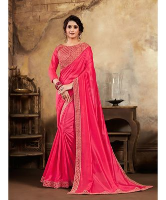 Magenta Poly Silk Stone Work and Embroidered Border Fancy Designer Saree