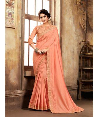 Orange Poly Silk Stone Work and Embroidered Border Fancy Designer Saree