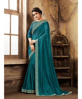 green Blue Poly Silk Stone Work and Embroidered Border Fancy Designer Saree