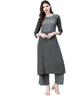 Women's Grey Colour Khadi Print Straight Crepe Kurta