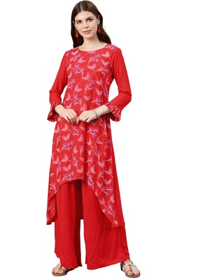 Women's Red Colour Foli Print A-Line Rayon Kurta
