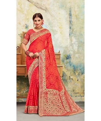 Red Poly Silk Embroidered with jaqcard Pallu Heavy Work Saree