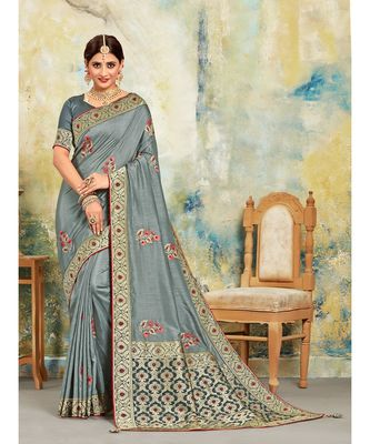 Grey Poly Silk Embroidered with jaqcard Pallu Heavy Work Saree