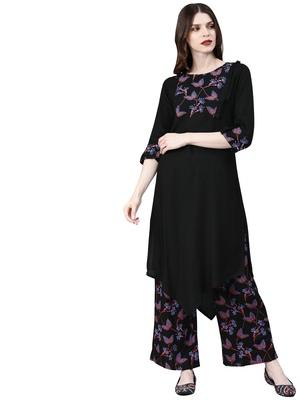 Women's Black Colour Foli Print Straight Rayon Kurta