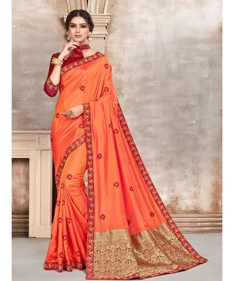 Orange Poly Silk Embroidered Designer Saree