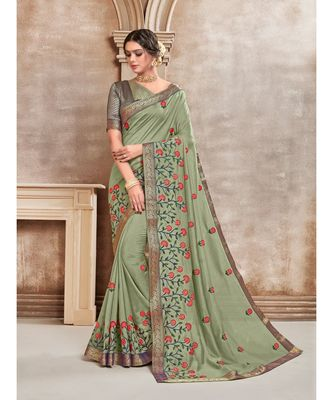 Green Poly Silk Embroidered Designer Saree