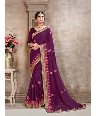 Purple Poly Silk Embroidered Designer Saree