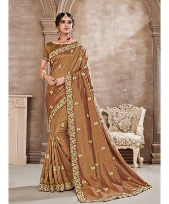 Brown Poly Silk Embroidered Designer Saree