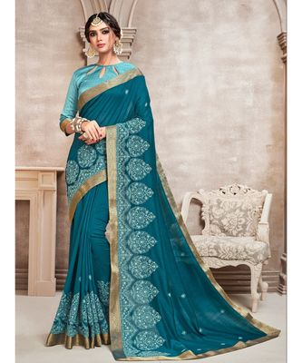 Blue Poly Silk Embroidered Designer Saree