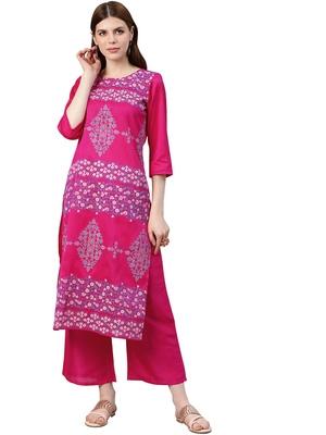Women's Pink Colour Foli Print Straight Polysilk Kurta