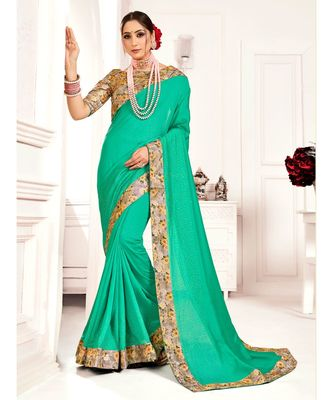 Green Poly Silk Stone work with Big Border Fancy Designer Saree