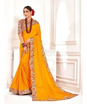 Yellow Poly Silk Stone work with Big Border Fancy Designer Saree