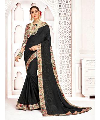 Black Poly Silk Stone work with Big Border Fancy Designer Saree