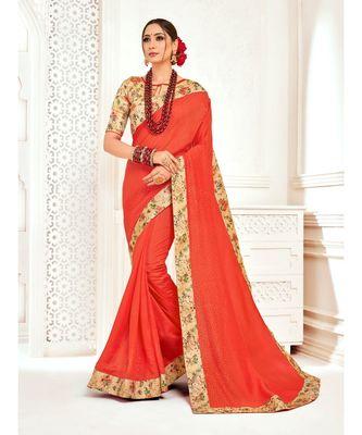 Orange Poly Silk Stone work with Big Border Fancy Designer Saree