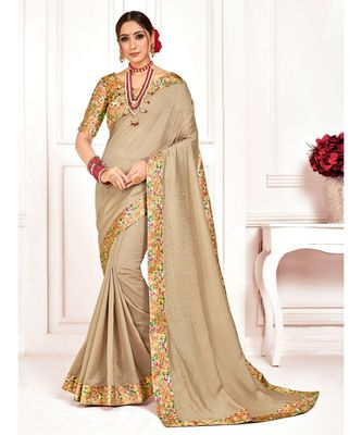 Beige Poly Silk Stone work with Big Border Fancy Designer Saree