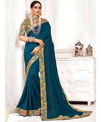 Blue Poly Silk Stone work with Big Border Fancy Designer Saree