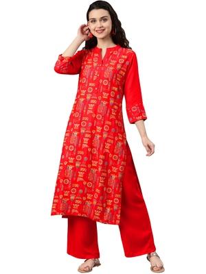 Women's Red Colour Foli Print Straight Rayon Kurta