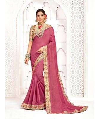 Pink Poly Silk Stone work with Big Border Fancy Designer Saree