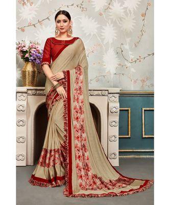 Beige Chiffon Embellished Fancy Designer Saree