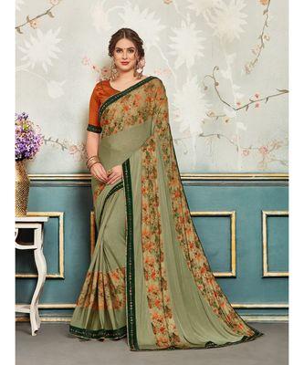 Green Chiffon Embellished Fancy Designer Saree