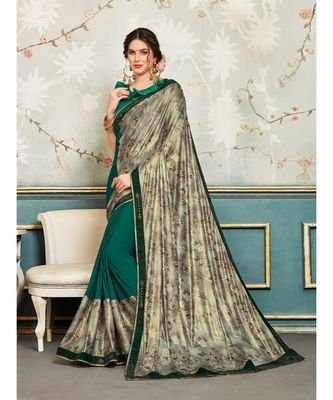 Green and Silver Chiffon Embellished Fancy Designer Saree