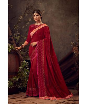 Red Poly Silk Embroidered Heavy Work Designer Saree