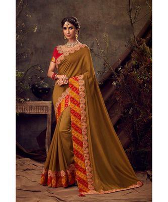 green Poly Silk Embroidered Heavy Work Designer Saree