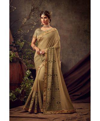 Gold Poly Silk Embroidered Heavy Work Designer Saree