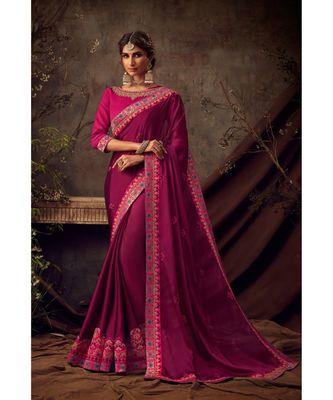brown Poly Silk Embroidered Heavy Work Designer Saree