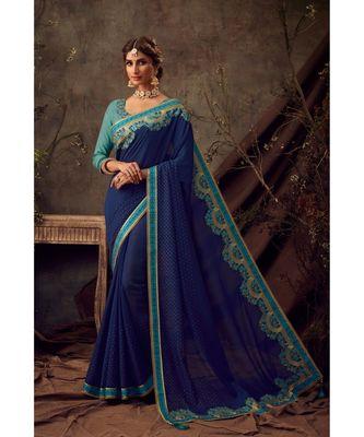 Navy Blue Poly Silk Embroidered Heavy Work Designer Saree