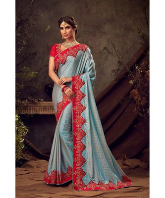 Blue Poly Silk Embroidered Heavy Work Designer Saree