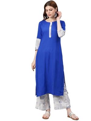 Women's Royal Blue Colour Solid Straight Rayon Kurta