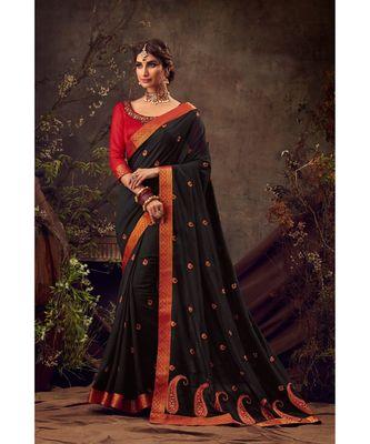 Black Poly Silk Embroidered Heavy Work Designer Saree