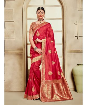 Red Poly Silk Embroidered Jaquard Pallu Heavy Work Saree