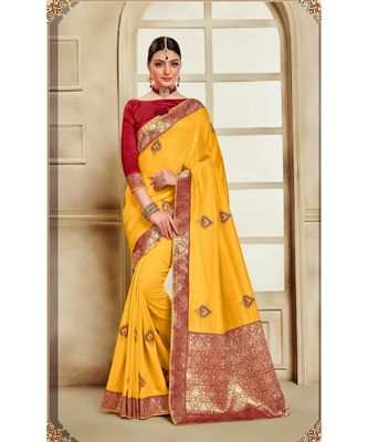Yellow Poly Silk Embroidered Jaquard Pallu Heavy Work Saree