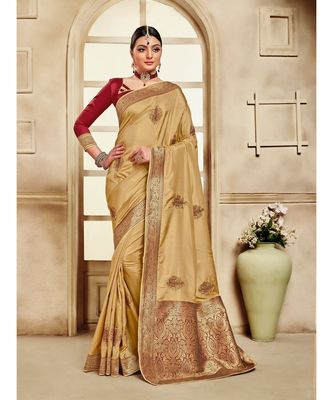 Gold Poly Silk Embroidered Jaquard Pallu Heavy Work Saree