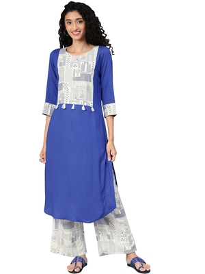 Women's Royal Blue Colour Khadi Print Straight Rayon Kurta