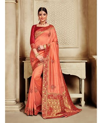 Orange Poly Silk Embroidered Jaquard Pallu Heavy Work Saree