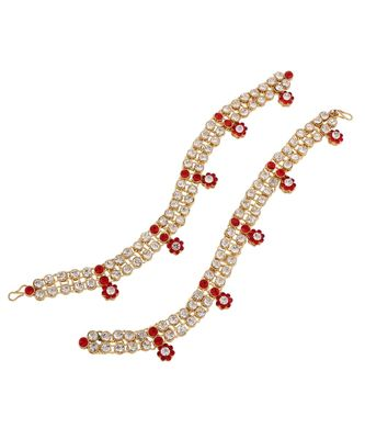 Traditional Gold Plated Elegantly Handcrafted Stone Studded Anklets Payal for Women A004R