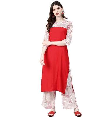 Women's Red Colour Khadi Print Straight Rayon Kurta