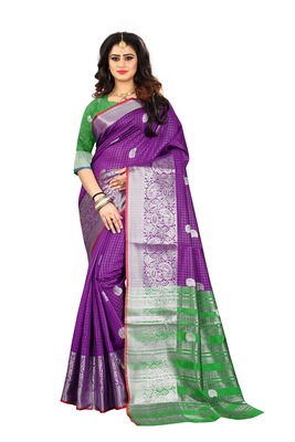 Purple woven jacquard saree with blouse