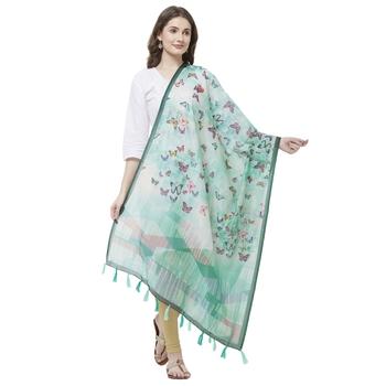 Sea Green Colored Digital Print Soft Chanderi Dupatta with Tassels