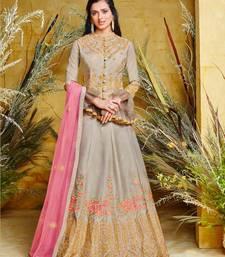 Grey embroidered pure silk salwar