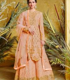 Dark-orange embroidered pure silk salwar
